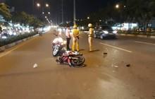 TP. HCM: Bất chấp hiệu lệnh dừng khi chạy vào làn ô tô, thanh niên phóng xe tông CSGT bị thương