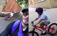"""Bố con David - Harper Beckham lại """"đốn tim"""" mọi người với clip đạp xe cùng nhau tới trường cực dễ thương"""