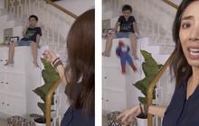 Quá sửng sốt với hành động kỳ lạ của con trai, Thu Trang phải tắt livestream giữa chừng