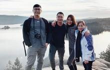 Giữa tin đồn đang mang thai, Lan Khuê vẫn cùng ông xã John Tuấn Nguyễn sang nước ngoài leo núi
