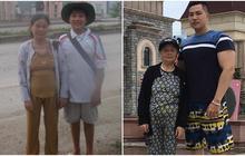 """Tham gia """"Thử thách 10 năm"""", chàng trai gây sốt khi khoe ảnh từ hồi còn bé xíu bỗng trở thành """"sumo"""" bên bà thân yêu"""