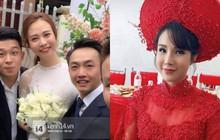 Đàm Thu Trang diện áo dài trắng, make up nhẹ như không, đơn giản hơn hẳn so với 2 cô bạn thân trước đó