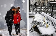 Paris đón tuyết đầu mùa sau nhiều tuần căng thẳng: Kẻ lãng mạn xuống phố, người cô đơn chống chọi giá rét