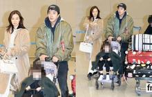 Vợ chồng tài tử Kwon Sang Woo và Hoa hậu Hàn lần đầu công khai đi cùng con gái tại sân bay, còn khoe mặt mộc 100%