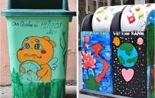 Nhìn những thùng rác này của sinh viên Nhân Văn, ai mà không nhặt rác cho vào đúng là có lỗi với môi trường!