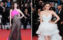 """2 thái cực của 2 chân dài Victoria's Secret Trung Quốc tại Cannes: Ming Xi như công chúa, Sui He phô phang đến """"bức người"""""""