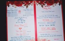 Hình ảnh tấm thiệp cưới ghi tên một chú rể nhưng có đến tận 2 cô dâu là chị em ruột ở Bình Định khiến nhiều người xôn xao