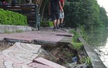 Bờ hồ Gươm sạt lở nghiêm trọng: Người dân lo lắng, chính quyền bảo chờ dự án