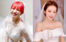"""Cô dâu """"cưới sau 700 ngày yêu"""" Kbiz gây sốt vì mặc váy cưới đẹp động lòng người, lột xác chỉ vì nhờ kiểu tóc"""