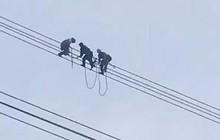 Giải cứu nam thanh niên ngồi vắt vẻo trên đường điện cao thế suốt hơn 3 giờ đồng hồ