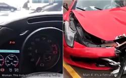 Trung Quốc: Vừa thuê xe Ferrari 17 tỷ, cô gái trẻ lái ra khỏi cửa hàng được 2 giây thì đâm nát bét