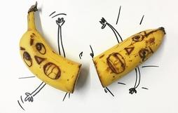 Những bức tranh minh họa hài hước được vẽ từ chuối