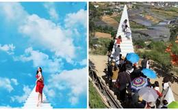 """""""Cầu thang vô cực"""" ở Đà Lạt: Lên Instagram ảo bao nhiêu, ngoài đời phải chen lấn chụp ảnh mệt bấy nhiêu!"""