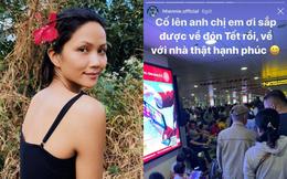 Hoa hậu cũng chật vật về quê ngày Tết như ai: H'Hen Niê ngồi cả ra đất đợi chuyến bay vẫn không quên có động thái ý nghĩa