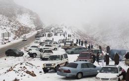 Người dân Ả Rập Saudi ngỡ ngàng vì tuyết rơi giữa sa mạc