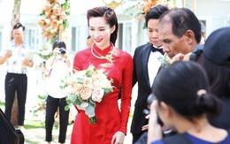 """Diện áo dài đỏ rực, cô dâu Thu Thảo tiếp tục """"đốn tim"""" fan bằng nhan sắc vô cùng rạng rỡ và xinh đẹp"""