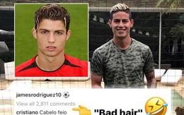 """Chê tóc mới của James Rodriguez xấu òm, Ronaldo bị lục lại quá khứ """"trẻ trâu"""""""