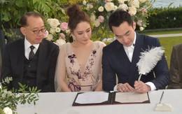 """Lễ đăng ký kết hôn của Chung Hân Đồng: Ông trùm quyền lực showbiz Hong Kong """"ra mặt"""" vì gà cưng"""