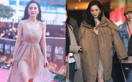Cắn răng chịu lạnh mặc váy dự sự kiện, Dương Mịch ngay lập tức ôm lấy áo khoác sau hậu trường