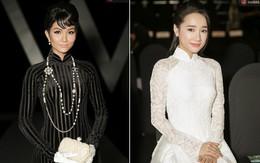 """H'Hen Niê như """"mệnh phụ phu nhân"""" với áo dài đen, Nhã Phương lại giống """"cô dâu mới"""" với áo dài trắng"""