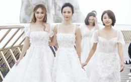 """Dàn mỹ nhân """"Tháng năm rực rỡ"""" diện váy mỏng trên độ cao 1.400m, cùng catwalk cho NTK Chung Thanh Phong"""