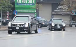 """Cận cảnh siêu xe """"Quái thú"""" của Tổng thống Trump và đoàn xe hộ tống trên đường phố Hà Nội"""