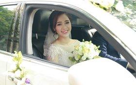 Hà Min được chồng đích thân lái xế sang rước dâu trong đám cưới