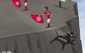 Biếm họa võ sĩ Bayern dụ bò Leipzig lao đầu xuống vực