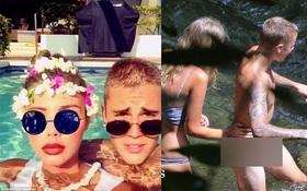 """Justin Bieber thân mật bên mẫu nữ gợi cảm sau khi """"tắm tiên"""" cùng nhau"""