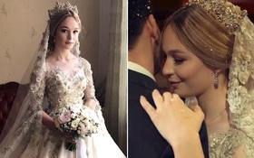"""Cận cảnh chiếc váy cưới lộng lẫy đến choáng ngợp của cô dâu Nga đang làm """"náo loạn"""" mạng xã hội"""