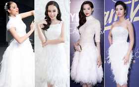 """Cùng kiểu đầm """"thiên nga trắng"""": Angela Phương Trinh và 3 nàng Hậu, ai mặc đẹp nhất?"""