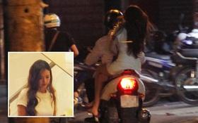 Sau khi lái ô tô đưa gia đình đi ăn kem, Midu về nhà bằng xe máy nhưng lại không đội mũ bảo hiểm