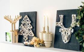 Áp dụng kĩ thuật đan lát để làm tranh dây thừng chuẩn bị đón Giáng sinh