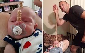 Hết cày điện tử, các ông bố lắm trò lại xây tháp trên mặt em bé