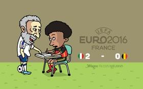 Biếm họa: Thầy giáo già Buffon đứng lớp chỉ bảo cho học trò Fellaini