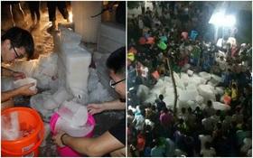 Nhà trường mua 28 tấn đá về phân chia cho sinh viên chống nóng