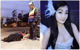 """Hình ảnh phản cảm của """"hot girl"""" Thái từng mặc đồ cử nhân quỳ lạy mẹ là công nhân vệ sinh"""