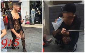"""Trung Quốc: Chàng trai trẻ mặc """"cây"""" ren mỏng tang vừa đi giữa phố vừa chụp ảnh tự sướng"""