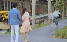 Linh (Nhã Phương) nắm tay Phong (Mạnh Trường) trước mặt Junsu (Kang Tae Oh)
