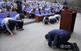 Tổng thư ký Quốc hội Hàn Quốc quỳ gối cảm tạ nhân viên vệ sinh nhân dịp đầu năm mới