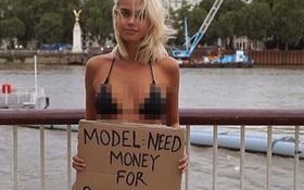 Sự thật đằng sau hành động ra đường cầm tấm bảng xin tiền sửa ngực của hot girl tóc vàng