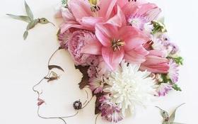 Ngắm bộ tranh chân dung gái đẹp được làm từ hoa cỏ mùa xuân