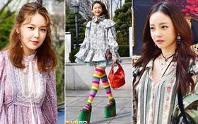 """Chân dài xứ Hàn diện tất cầu vồng đi giày 50cm, """"át vía"""" cả Sooyoung lẫn Goo Hara"""