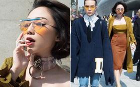 """Seoul Fashion Week: Tóc Tiên diện mắt kính bút chì """"độc"""", đổi style gợi cảm bên Kelbin Lei"""