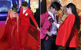 Không chỉ mặc ton-sur-ton, Tim và Trương Quỳnh Anh còn thích chăm chút quần áo trên thảm đỏ cho nhau