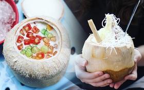 """2 món ăn trong quả dừa đang cực """"hot"""" ở Hà Nội bạn nhất định phải thử"""