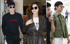 """""""Mẹ Kim Tan"""" quý phái như nữ doanh nhân, hai """"anh thần"""" DBSK sành điệu tại sân bay"""