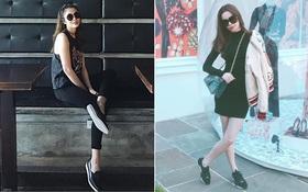 Cùng mặc đồ đen đi giày bệt, Hà Hồ lại thiệt hơn Hà Tăng bởi đôi chân gầy khẳng khiu