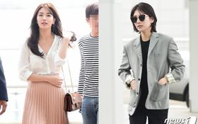 Suzy mất đi phong thái nữ thần với mái tóc ngắn và phong cách như con trai tại sân bay