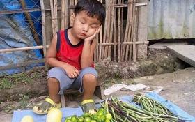 Cảm động khi nhìn thấy hình ảnh cậu bé đáng thương ngủ gật bên sạp bán rau, siêu sao Philippines kêu gọi giúp đỡ